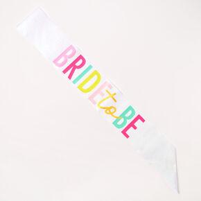 Bride To Be Glitter Sash - White,