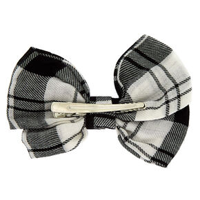 Plaid Hair Bow Clip - Black,