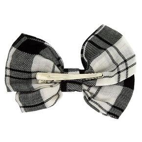 Plaid Hair Bow Clip - Black,