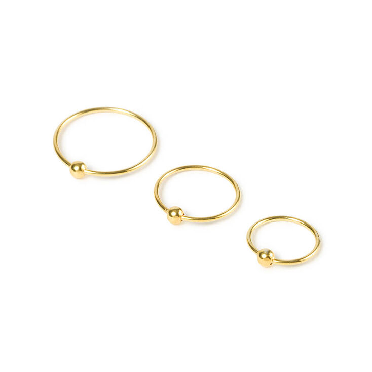 Gold Sterling Silver 20G Beaded Nose Ring - 3 Pack,