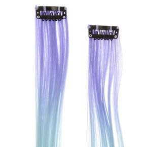Pastel Blue to Pink Ombre Faux Hair Clips,
