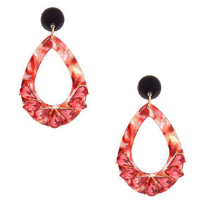 "2"" Crystal Drop Earrings - Pink,"