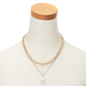 Gold Pearl Chain Necklaces - 2 Pack,
