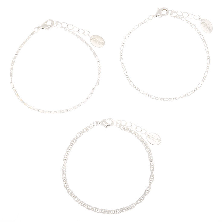 Silver Chain Statement Bracelets - 3 Pack,