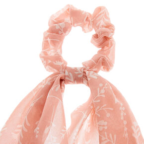 Floral Tree Branch Scarf Hair Scrunchie - Blush Pink,