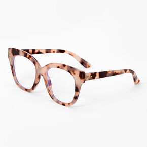 Blue Light Reducing Retro Tortoiseshell Clear Lens Frames - Ivory,