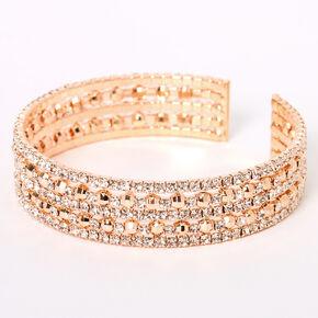 Rose Gold Rhinestone Infinity Disco Cuff Bracelet,