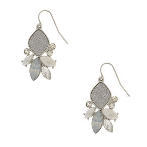 "Silver 1"" Mermaid Glitter Drop Earrings,"