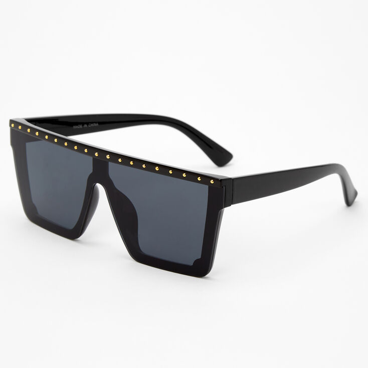 Studded Top Shield Sunglasses - Black,
