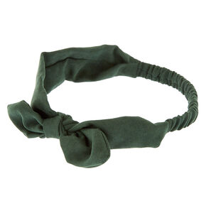 Suede Knotted Bow Headwrap - Hunter Green,
