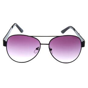 Black and Silver Gem Aviator Sunglasses,