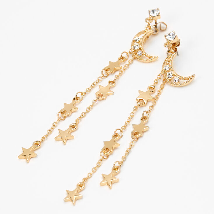 Gold Moon & Stars Linear Drop Earrings,
