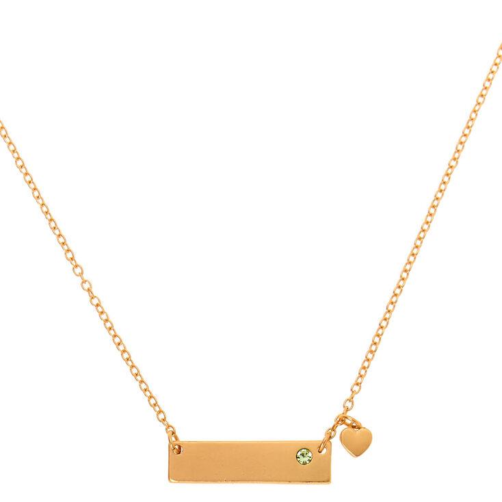 Gold August Birthstone Bar Pendant Necklace - Peridot,