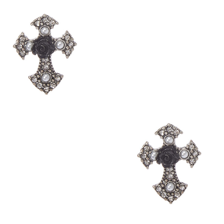 Carved Rose Gothic Cross Stud Earrings,