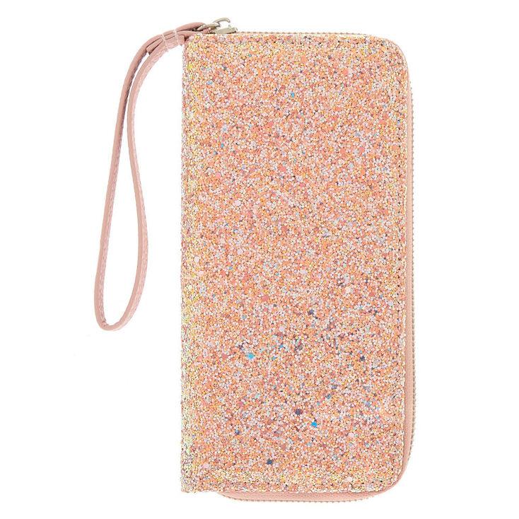 Chunky Glitter Zip Wristlet - Pink,