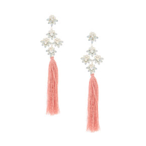"5"" Tassel Crystal Clip On Drop Earrings - Pink,"