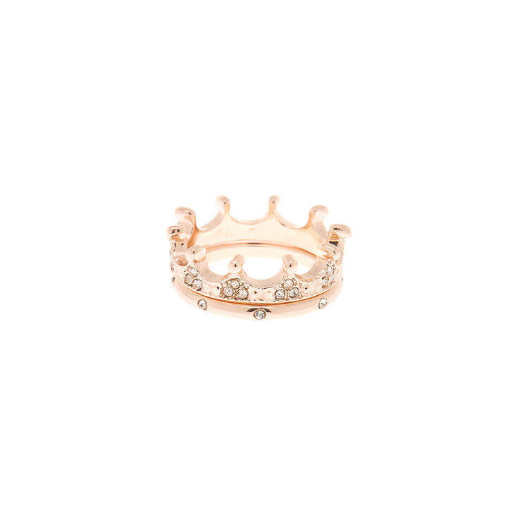 Rose Gold Crown Rings - 2 Pack,