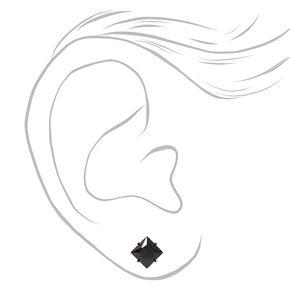Black Titanium Cubic Zirconia Rectangle Stud Earrings - 6MM,