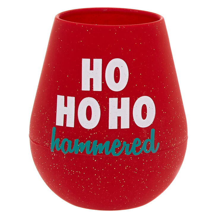 Silicone Ho Ho Ho Hammered Wine Glass - Red,