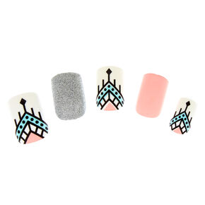 Aztec Faux Nail Set - Pink, 24 Pack,