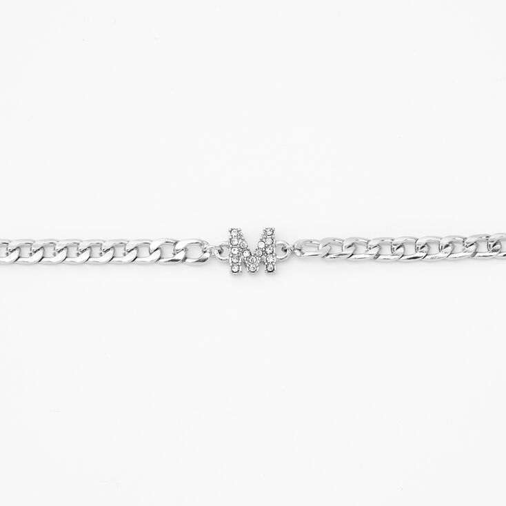 Silver Embellished Initial Chain Choker Necklace - M,
