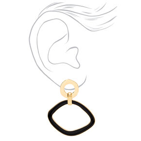 "Gold 2.5"" Round Melted Geometric Drop Earrings - Black,"
