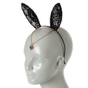Black Lace Bunny Ears Headband,