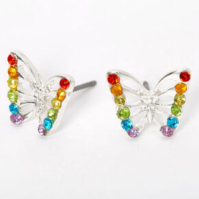 Silver Rainbow Embellished Butterfly Stud Earrings,