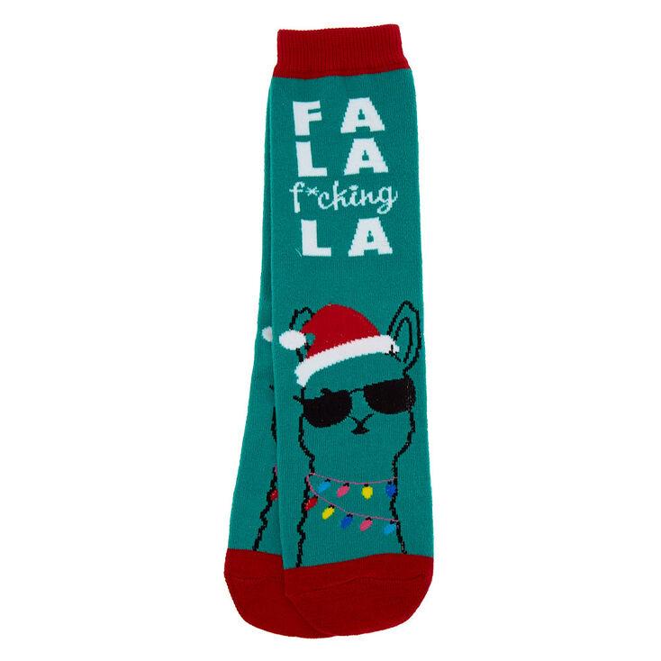 Fa La F*cking La Llama Crew Socks - Green,