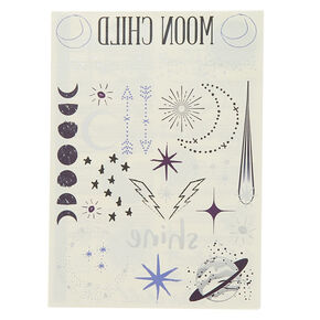Moon Child Metallic Temporary Tattoos - 40 Pack,