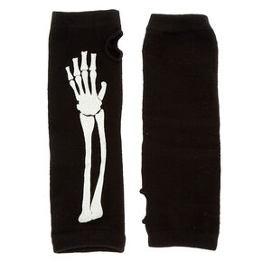 Glow In The Dark Skeleton Fingerless Gloves - Black,