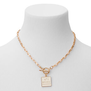 Gold No. 1 Bride Toggle Chain Necklace,