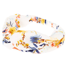 Daisy Floral Twisted Headwrap - White,