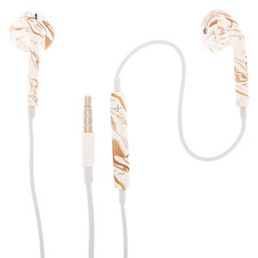 Marble Earbuds with Mic - Gold,