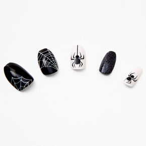 Spider Web Coffin Faux Nail Set - 24 Pack,