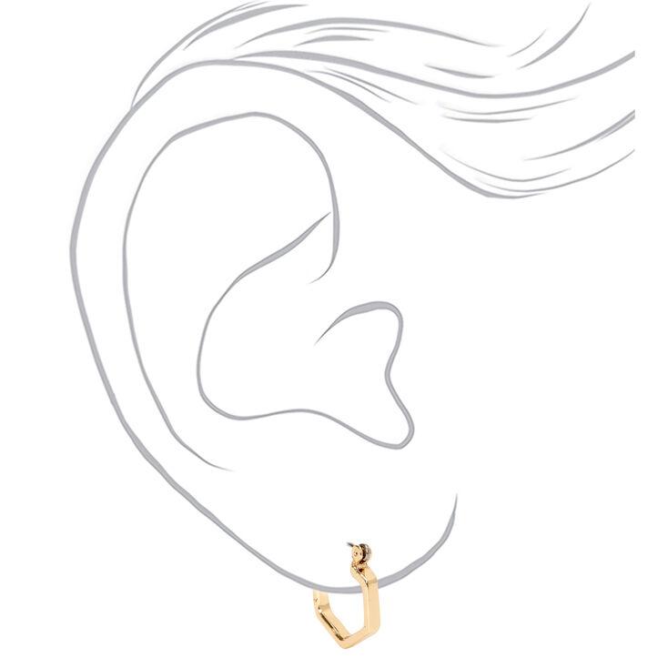 Gold 15MM Hexagon Hinge Hoop Earrings,