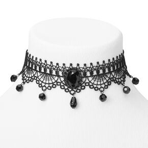 Lace Large Gem Choker Necklace - Black,