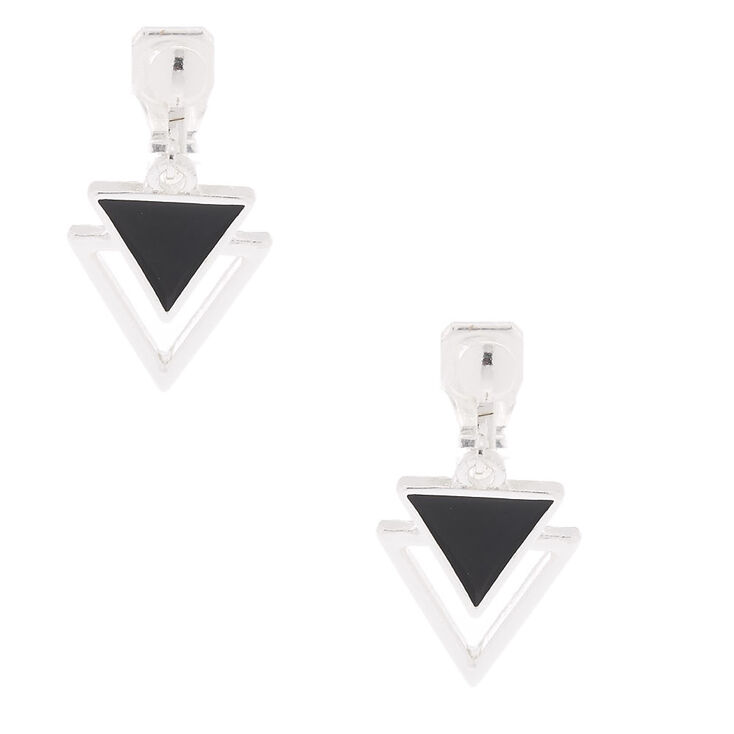 "Silver 1"" Double Triangle Clip On Drop Earrings,"