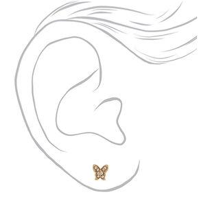 Mixed Metal Butterfly Stud Earrings - 3 Pack,