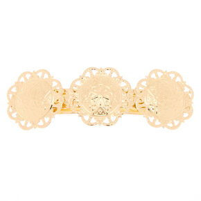 Gold Floral Medallion Hair Barrette,