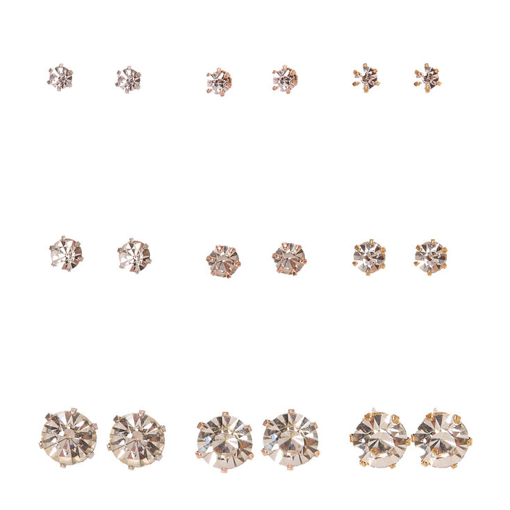 Mixed Metal Frame Graduated Faux Crystal Stud Earrings,