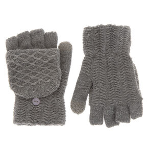 Knit Fingerless Gloves With Mitten Flap - Gray,
