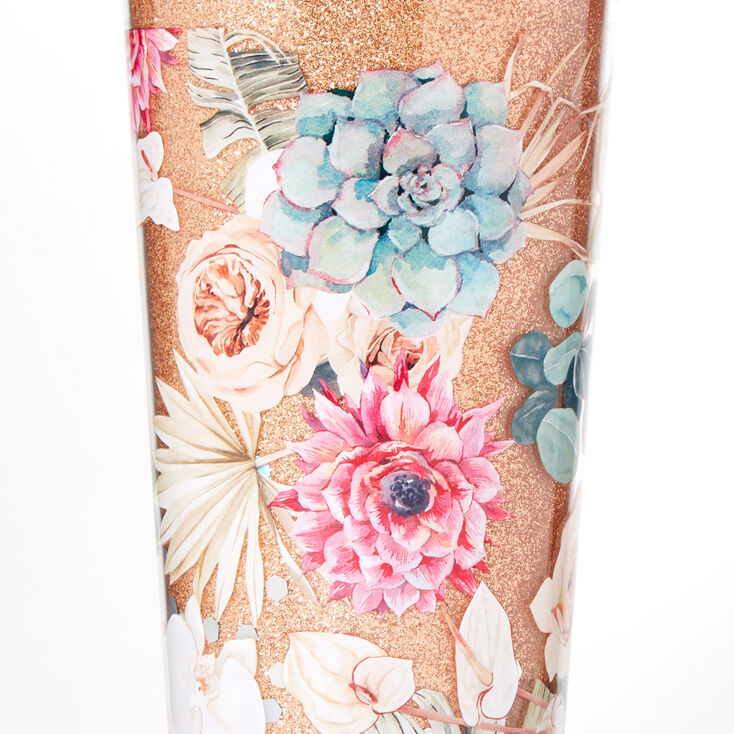 Floral Succulent Glitter Tumbler - Gold,