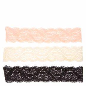 Blush, Black, & Ivory Lace Headwraps,