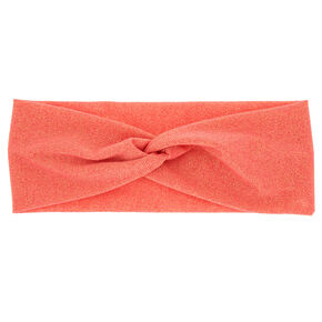 Lurex Wide Jersey Headwrap - Coral,