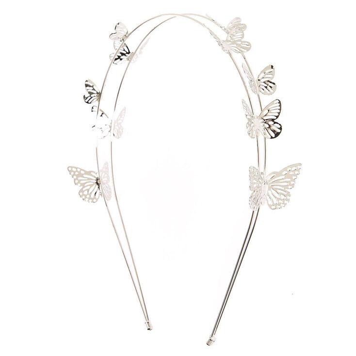 Silver Double Row Butterfly Headband,