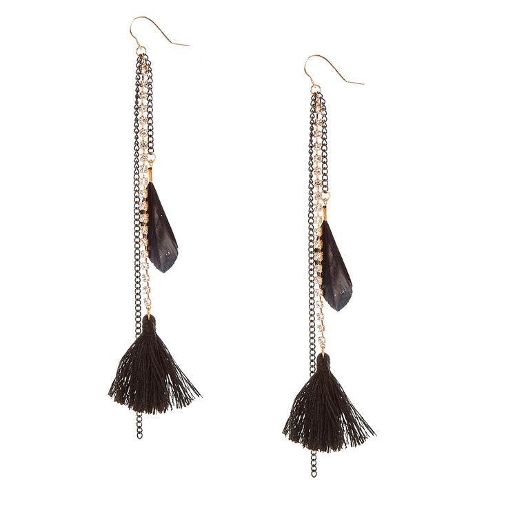 Gold Tone Faux Crystal Chain & Black Tassel Drop Earrings,