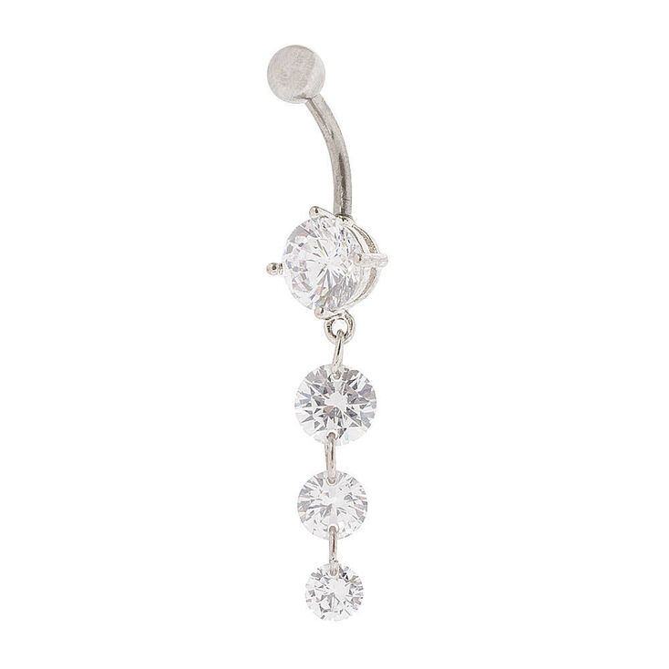 Silver 14G Triple Stone Drop Belly Ring,