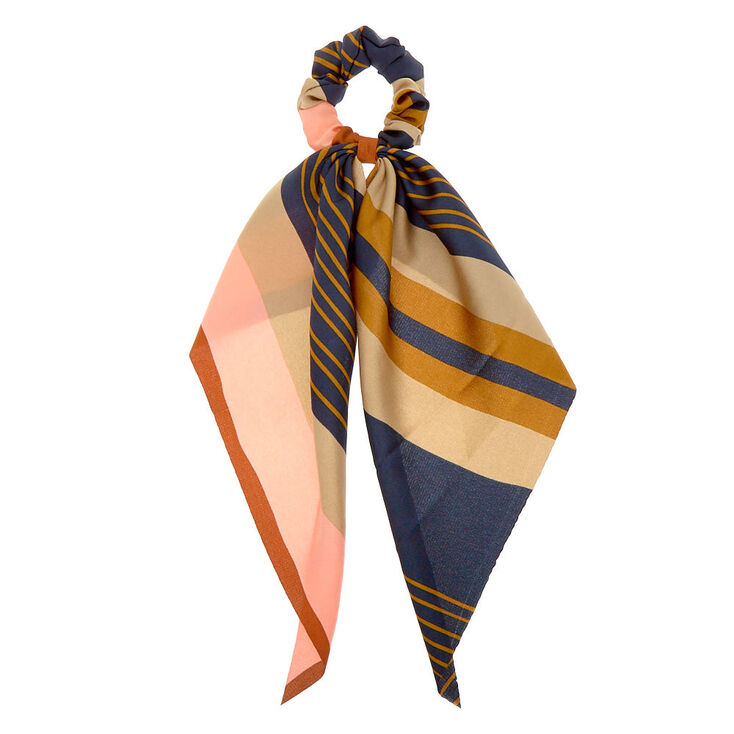 Rustic Striped Scarf Hair Scrunchie,