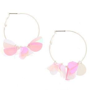 Sequin 40MM Hoop Earrings - Pink,